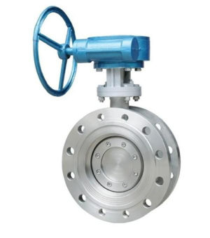 Gear box manual flange butterfly matel seat valve